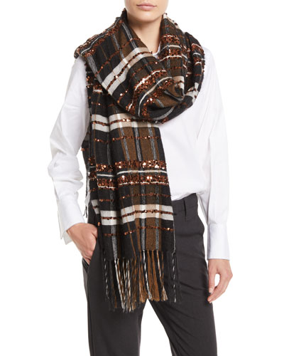 Mohair-Alpaca Plaid Blanket Scarf w/ Paillettes
