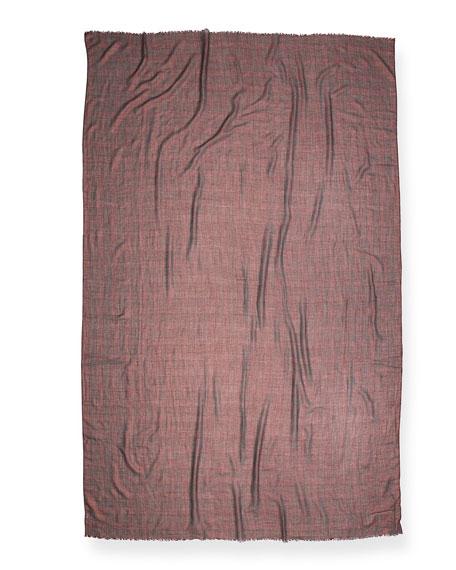 Metallic-Plaid Cashmere-Blend Scarf