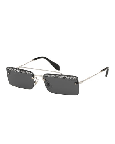 Rimless Rectangle Glittered Sunglasses