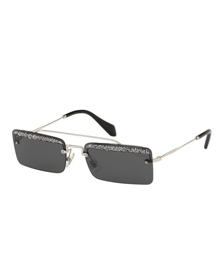 Miu Miu Rimless Rectangle Glittered Sunglasses