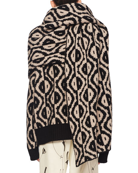 Geo-Intarsia Oversized Wool-Cashmere Scarf