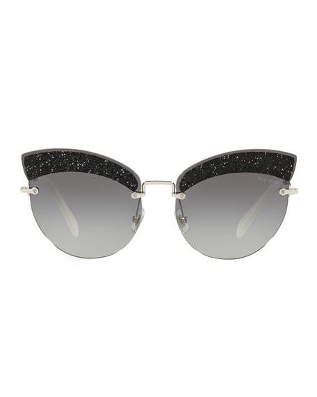 Semi-Rimless Glittered Cat-Eye Sunglasses