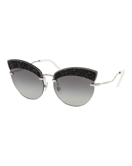 MIU MIU Scenique Evolution 65Mm Cat Eye Sunglasses - Silver Gradient