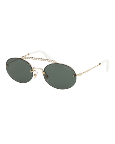 Semi-Rimless Oval Sunglasses w/ Crystal Embellishment