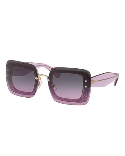 Rectangle Glitter-Illusion Frame Chunky-Arm Sunglasses