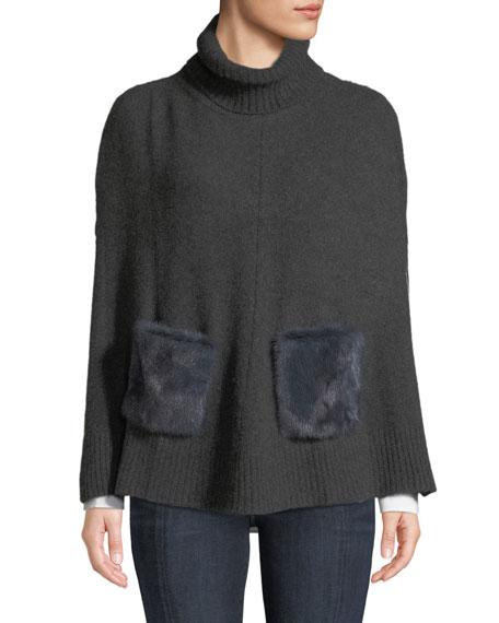 CAROLYN ROWAN Cashmere Turtleneck Poncho W/ Fur Pockets in Gray