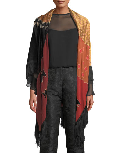 Patchwork Tribal Wrap w/ Fringe Trim