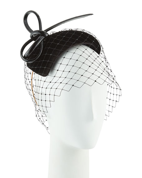 Philip Treacy Hand-Blocked Velvet Veiled Calotte Fascinator Hat