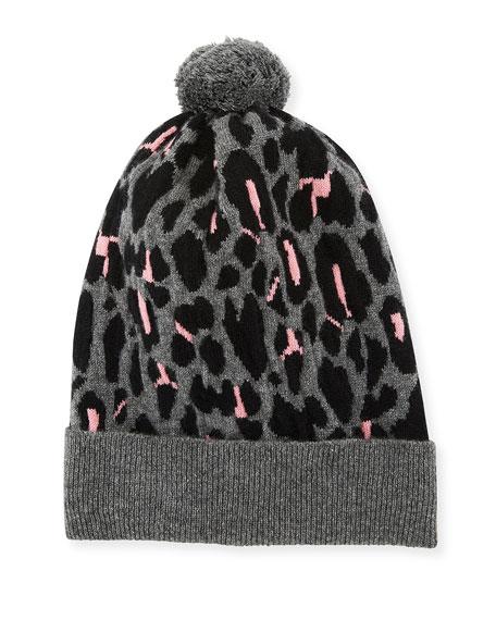 ROSIE SUGDEN Rib-Knit Leopard Intarsia Cashmere Beanie Hat