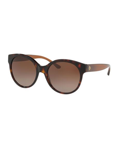 Tory Burch Round Gradient Acetate Sunglasses
