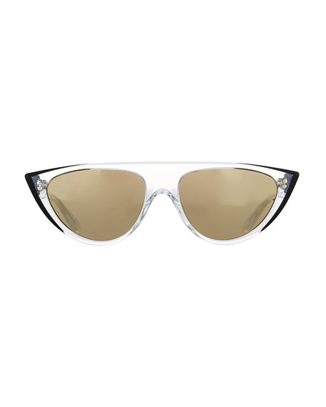 Miss J Clear Acetate Geometric Cat-Eye Sunglasses