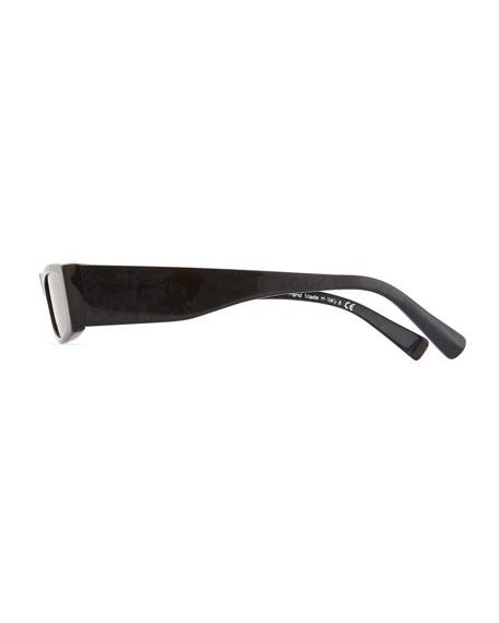 Edwidge Narrow Rectangular Sunglasses - Black