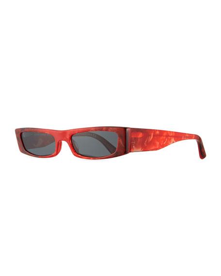 ALAIN MIKLI Edwidge Narrow Rectangular Sunglasses - Red