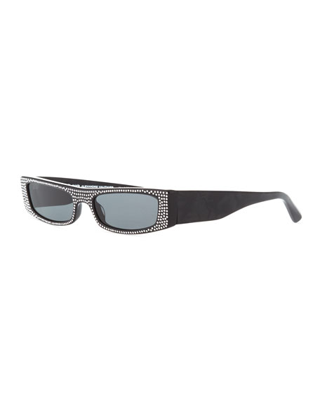 Alain Mikli Edwidge Narrow Jeweled Sunglasses