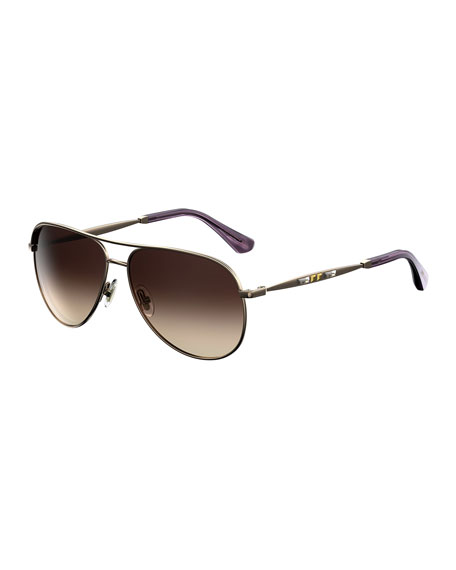 Jimmy Choo Jewly Rhinestone Aviator Sunglasses