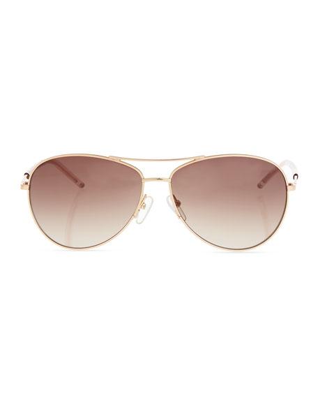 Metal Curved-Brow Aviator Sunglasses