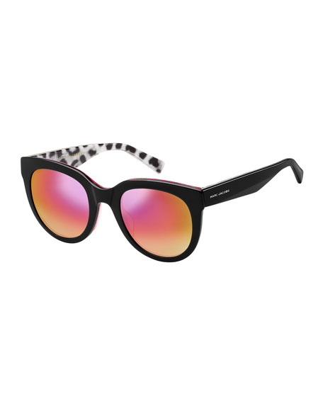 Round Gradient Sunglasses w/ Glittered Interior