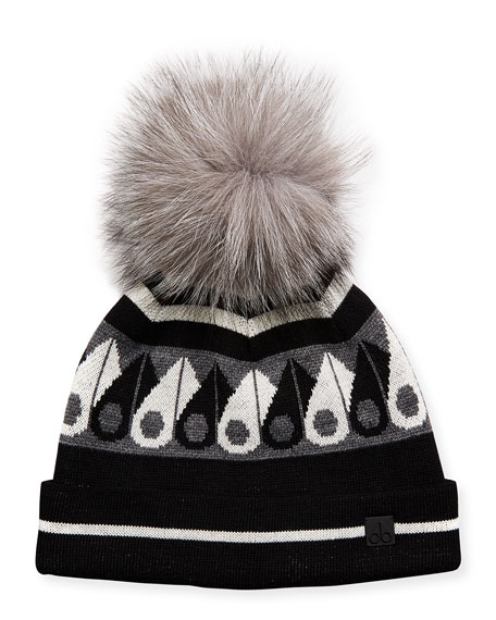 Moose Canuk Beanie Hat W/ Fur Pompom in Black/White