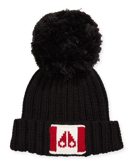 Canada Flag Beanie Hat W/ Pompom, Black