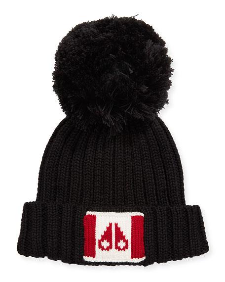 MOOSE KNUCKLES CANADA FLAG BEANIE HAT W/ POMPOM