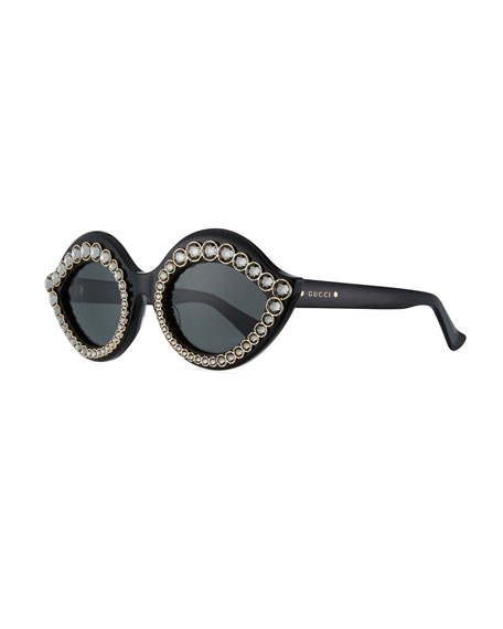Gucci Swarovski® Crystal Monochromatic Cat-Eye Sunglasses