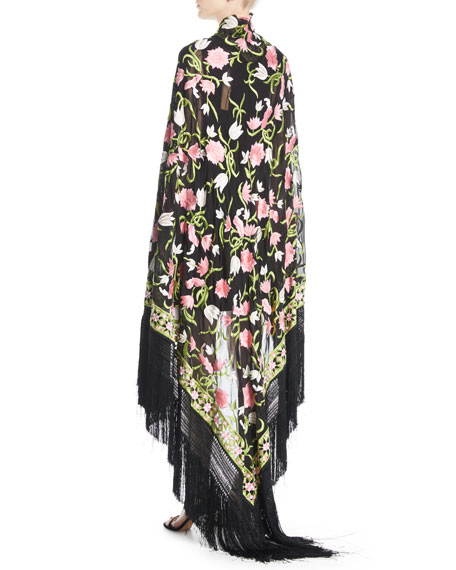 Floral-Embroidered Fringe Shawl