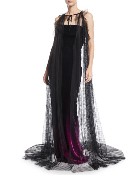 Monique Lhuillier Cutout-Shoulder Cape w/ Ruffle Detail