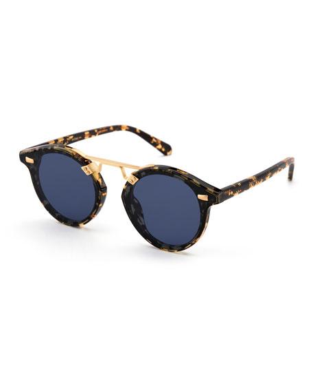 Stl Ii Round Sunglasses W/ Nylon Overlay Lenses, Brown by Krewe