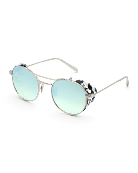 Orleans Round Mirrored Sunglasses w/ Side Blinders, Gray Pattern