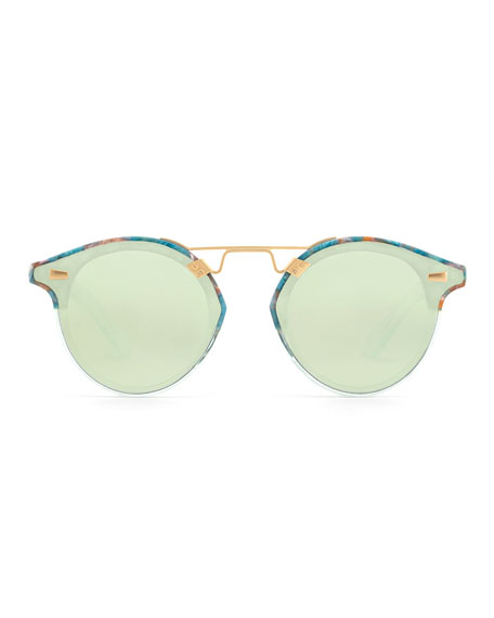STL II Round Sunglasses w/ Nylon Overlay Lenses, Blue