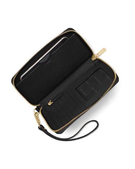 Mercer Large Flat Multifunction Leather Wristlet Phone Wallet