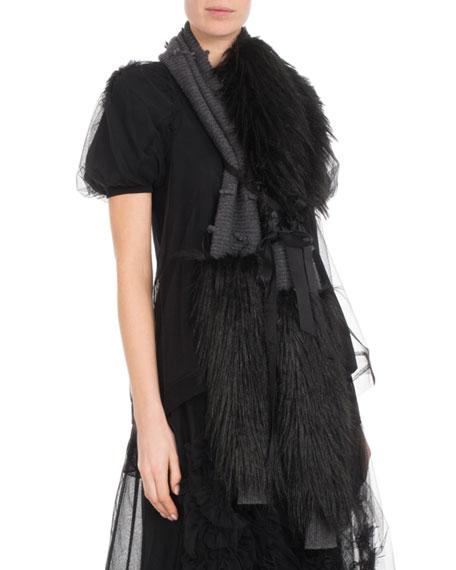 Wool-Cashmere Knit Scarf w/ Faux-Fur Wrap