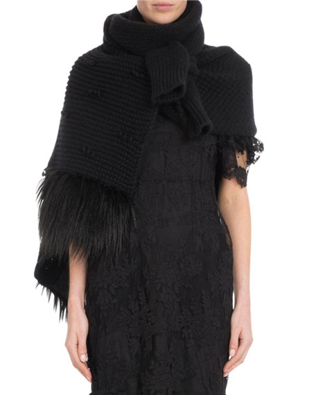 Patchwork Knit Scarf w/ Faux-Fur
