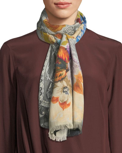 Dehly Classic Paisley & Blooming Floral Scarf