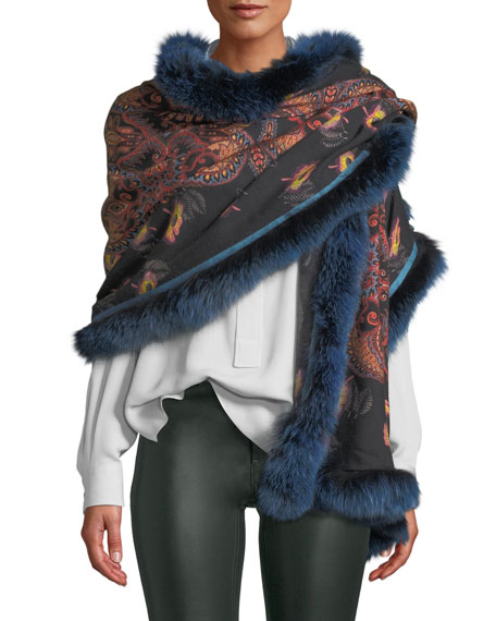 Shaal-Nur Poppy Paisley Shawl w/ Fur Trim