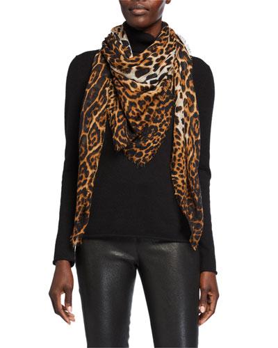 Leopard Pattern Fringe Scarf