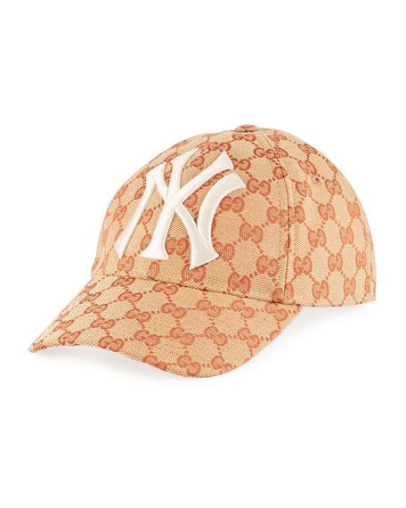 Gucci Men S Logo-Print Baseball Cap With New York Yankees Applique In Red 823ff40f673