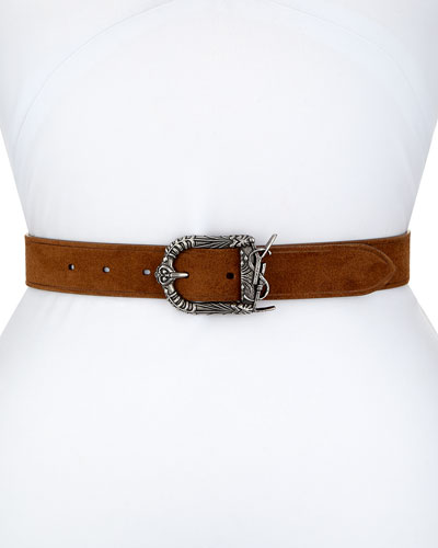 Monogram YSL Celtic Suede Belt