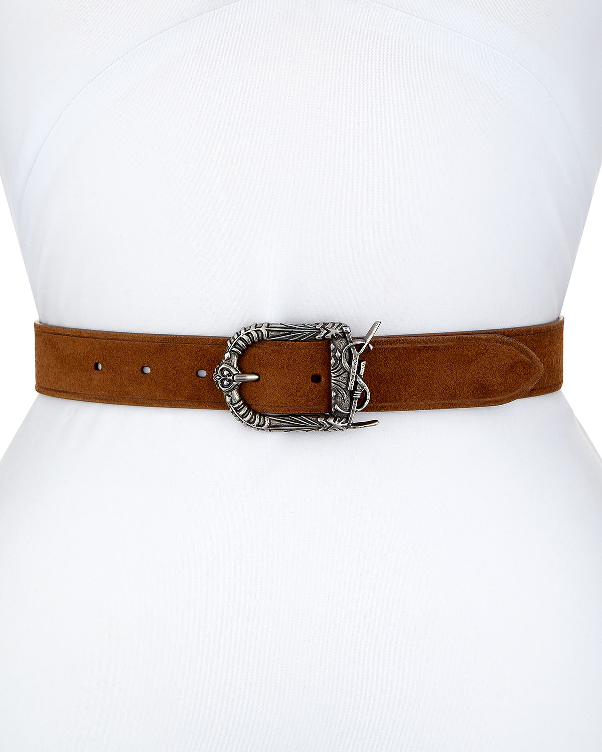101005b1ffd8c Saint Laurent Monogram YSL Celtic Suede Belt