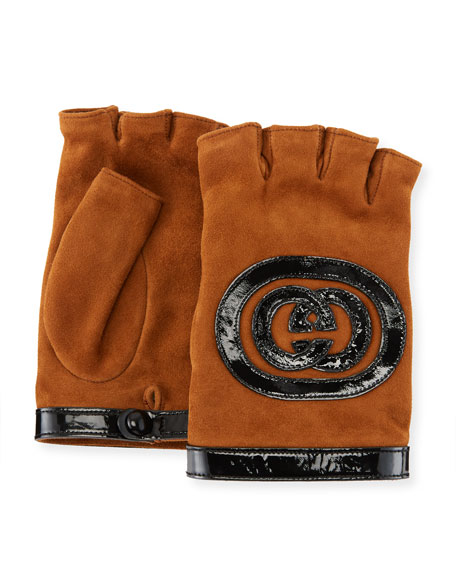 Gucci Suede Fingerless Gloves w/ Interlocking GG Leather