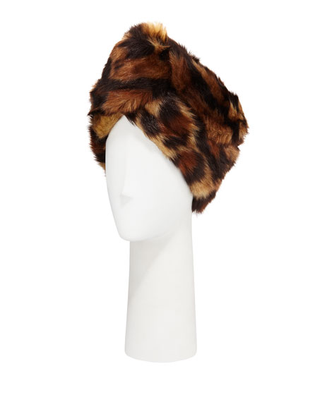 GUCCI LEOPARD PRINT FAUX-FUR HEAD WRAP