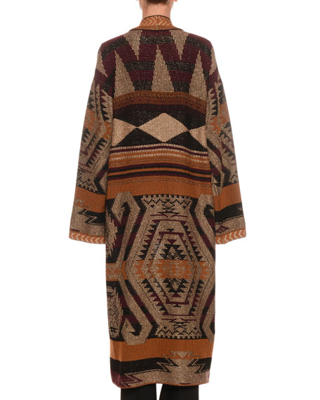 Etro Long Metallic Knit Cardigan Sweater