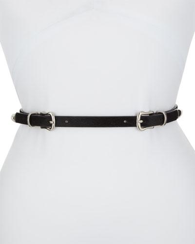 Luma Double-Buckle Calf Hair Belt