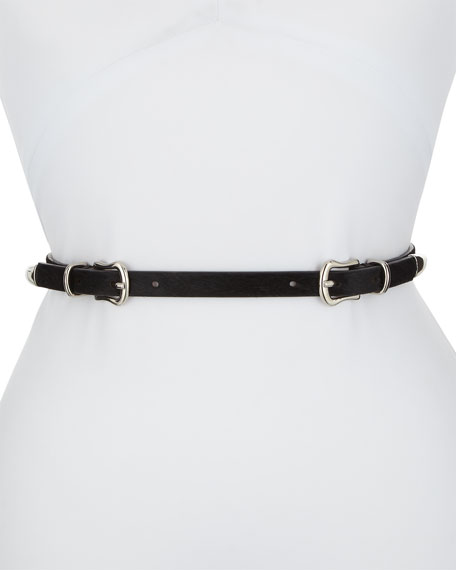 Luma Double-Buckle Calf Hair Belt