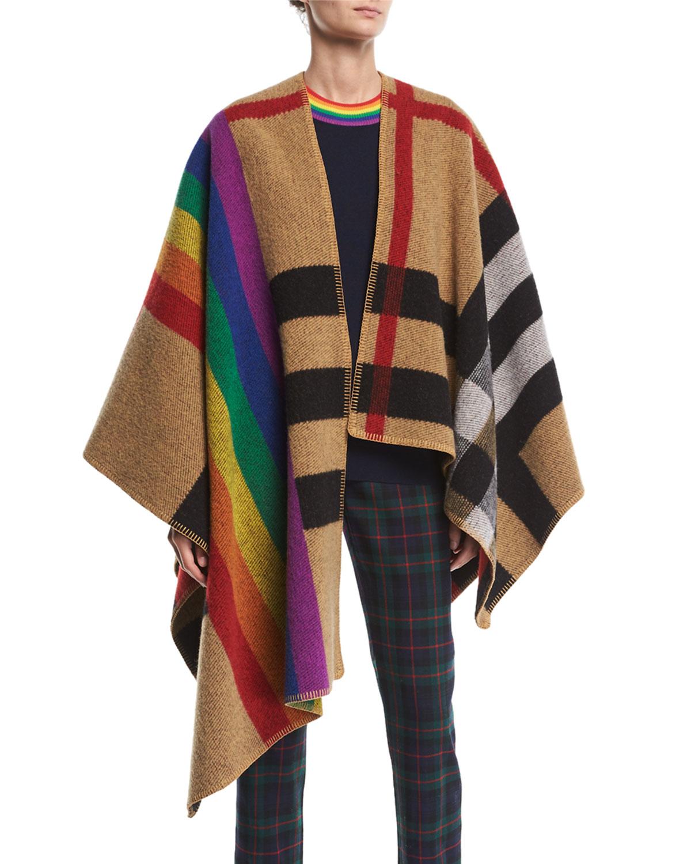 Burberry Mega Rainbow Check Cape Neiman Marcus