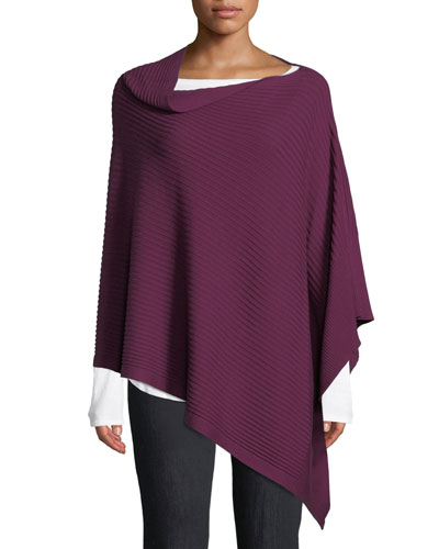 Rib-Knit Poncho, Plus Size