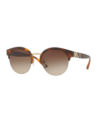 Check-Temple Half-Rim Sunglasses