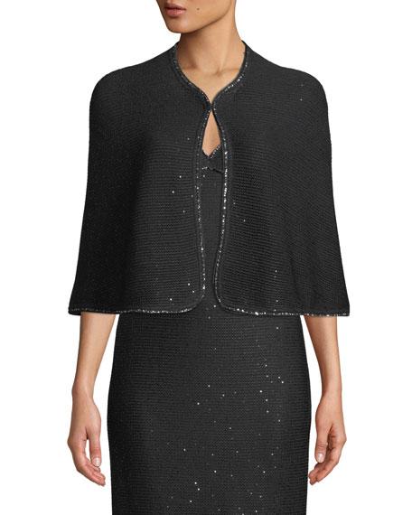 Sheer Links Sequin Knit Short Cape in Caviar