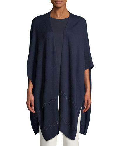 Merino Wool Jacquard Knit Wrap w/ Sequins
