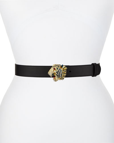 Animailer Tiger-Buckle Leather Belt
